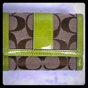 Coach Signature Jacquard & Patent Leather Wallet